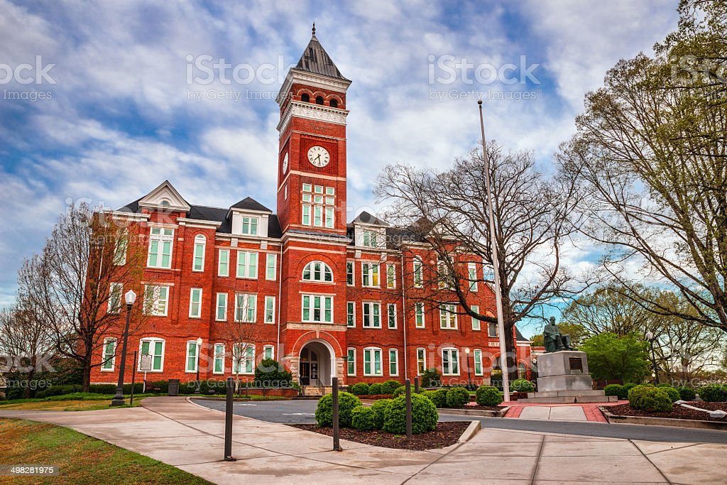 Historic building in Clemson, SC stock photo