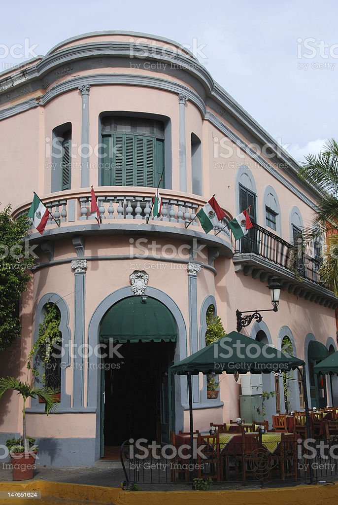 Historic Building in Old Town Mazatlan royalty-free stock photo