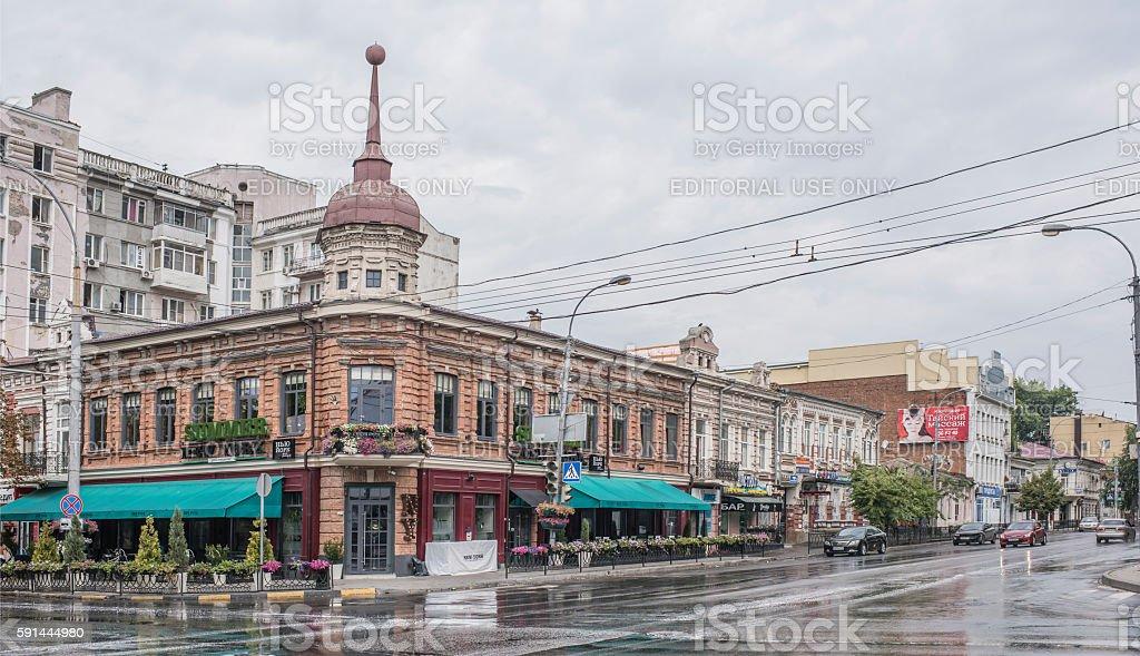 Historic building on the corner of Bolshaya Sadovaya Street stock photo