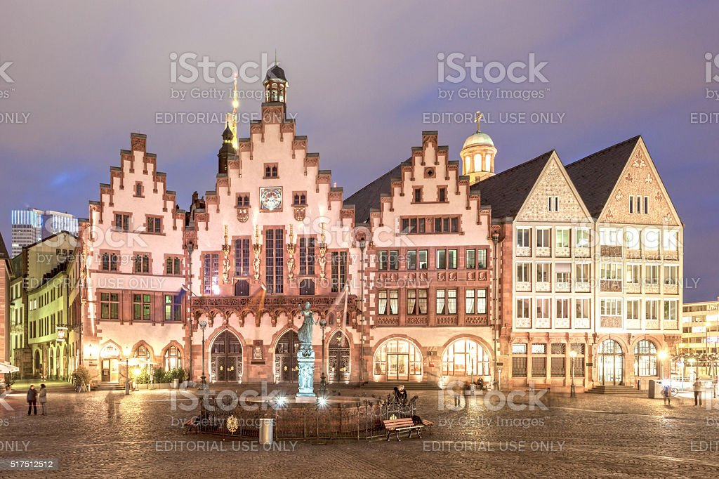 Historic buildings in Frankfurt Main at night stock photo