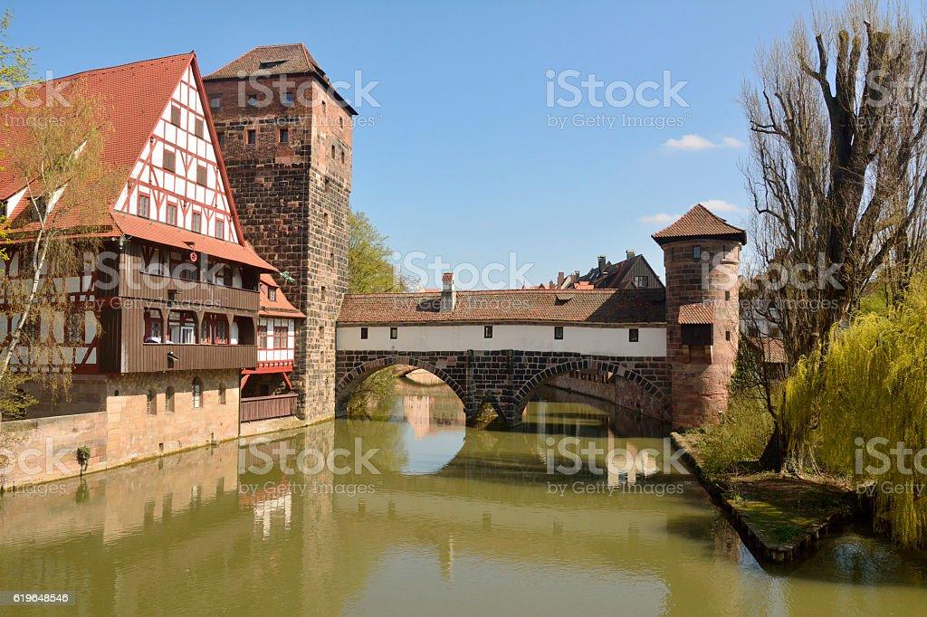 Historic buildings in Nuremberg. stock photo