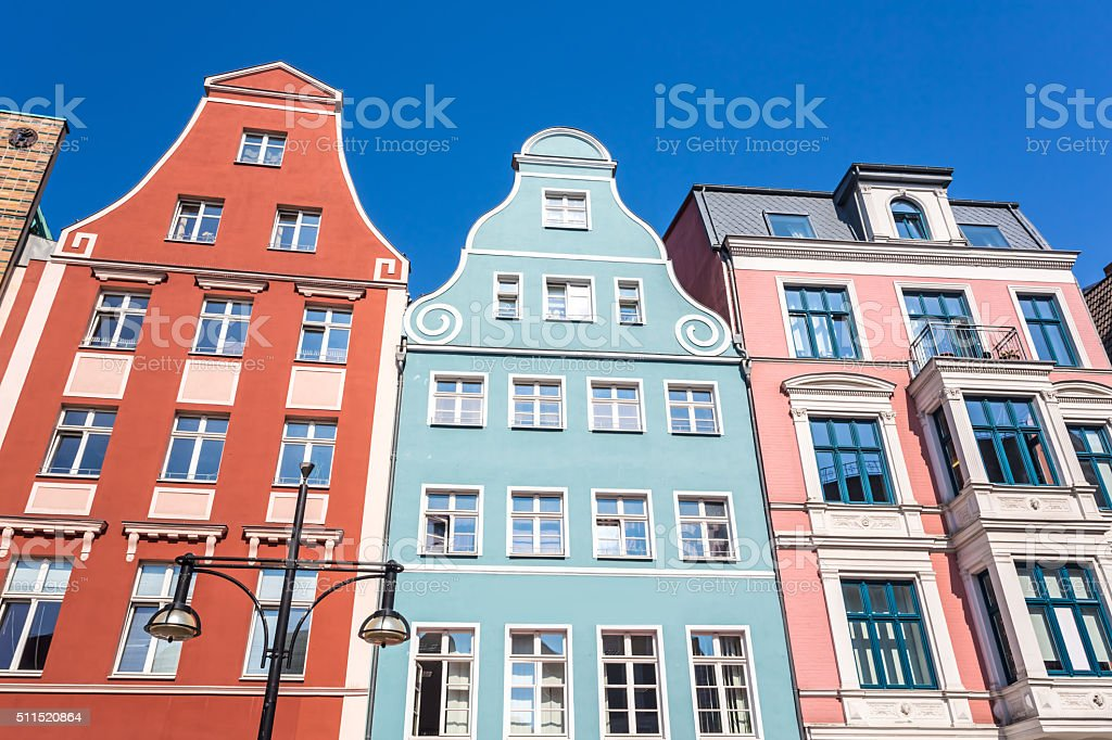 Historic Buildings in Rostock, Germany. stock photo