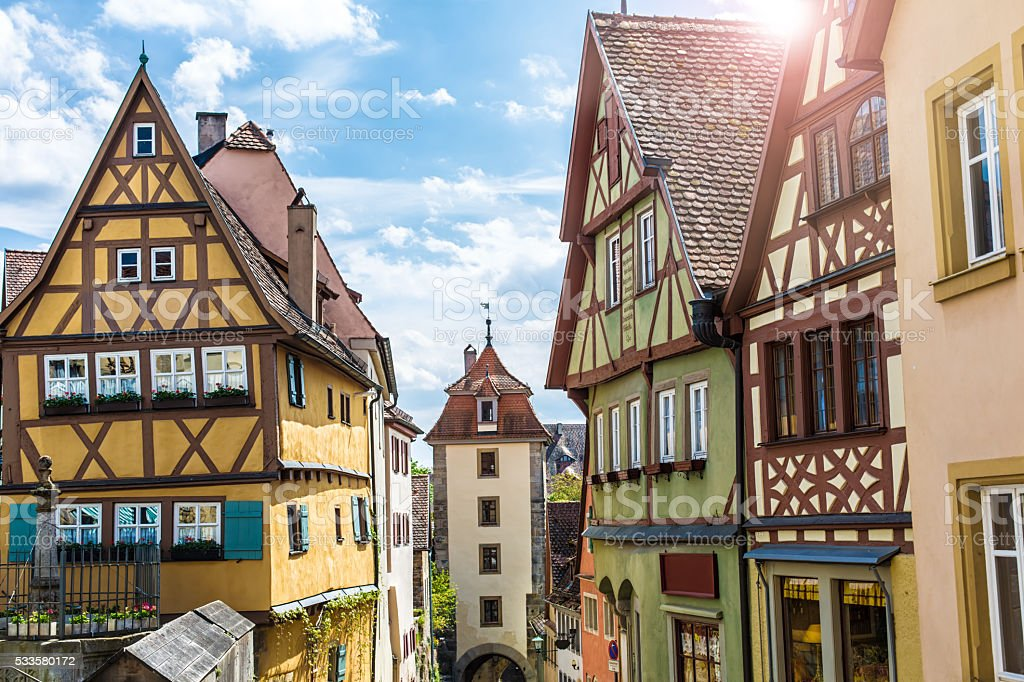 Historic buildings in Rothenburg ob der Tauber stock photo