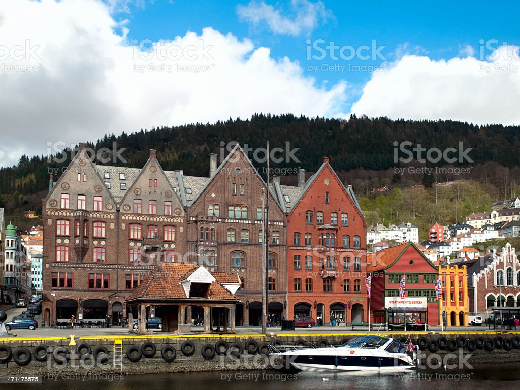 Historic buildings of Bergen stock photo
