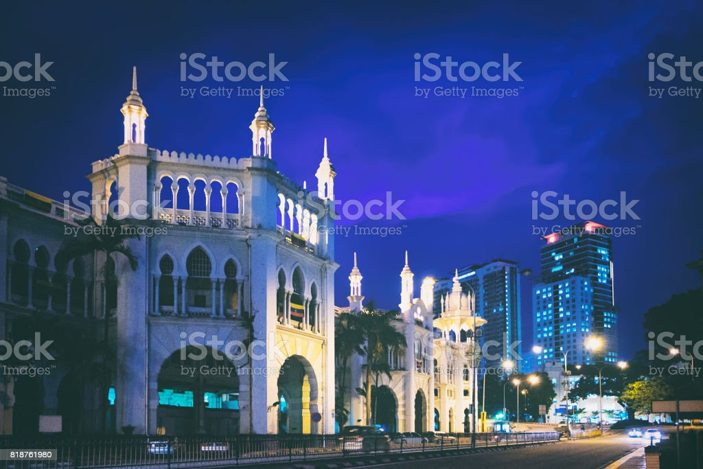 Historic buildings of Kuala Lumpur at night stock photo