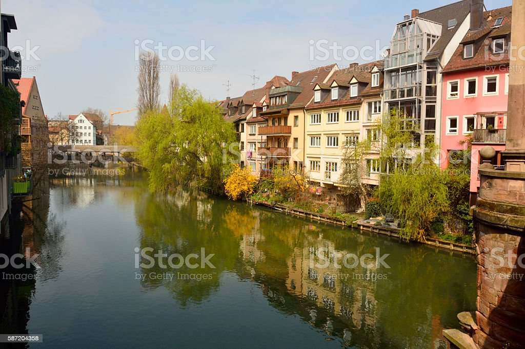Historic buildings on Pegnitz riverside in Nuremberg stock photo