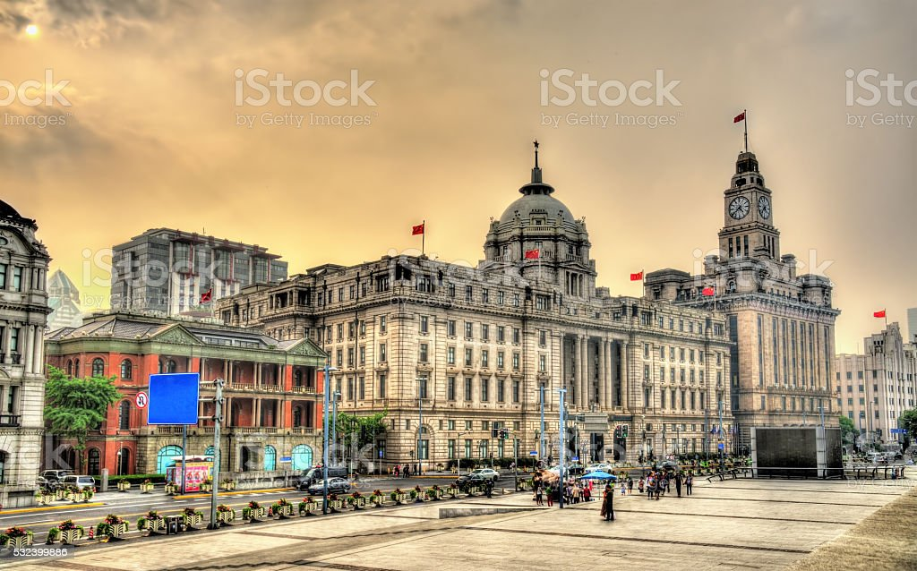 Historic buildings on the Bund riverside of Shanghai stock photo