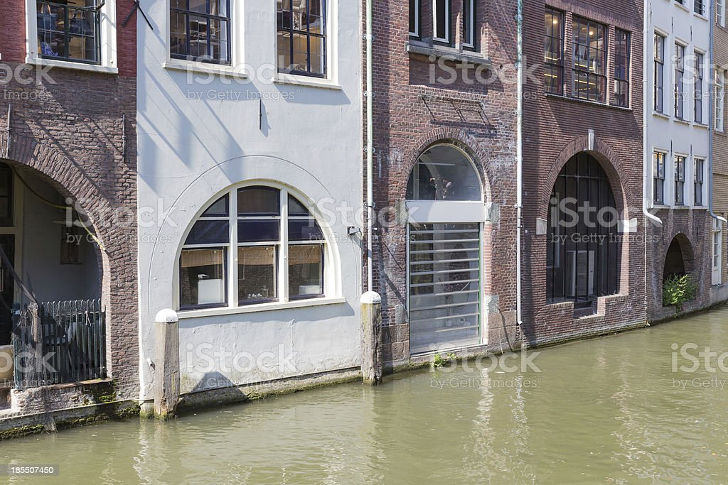 Historic canal houses in medieval city Utrecht of the Netherlands royalty-free stock photo