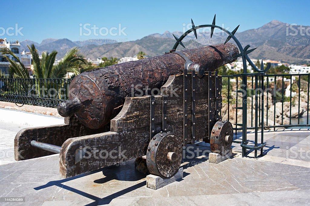 Historic cannon in Nerja, Spain stock photo