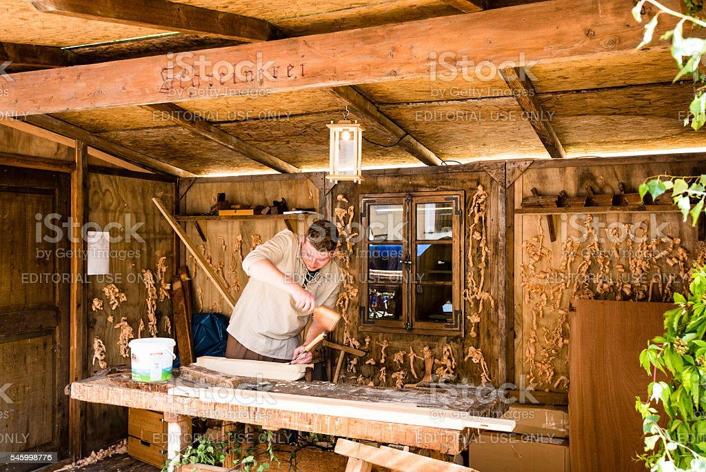 Historic carpenter in his workshop stock photo