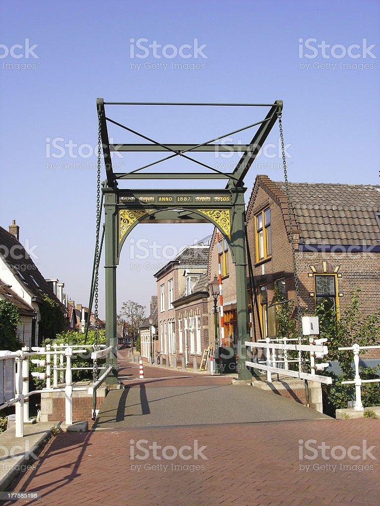 Historic cast iron drawbridge anno 1887 royalty-free stock photo