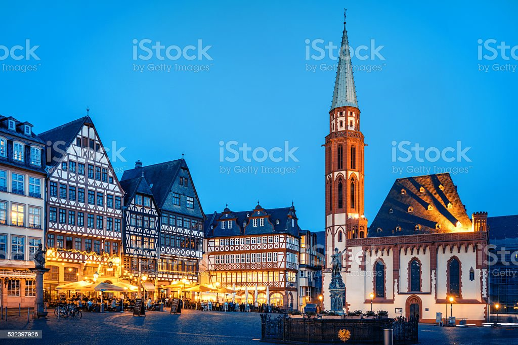 Historic Center of Frankfurt at dusk stock photo