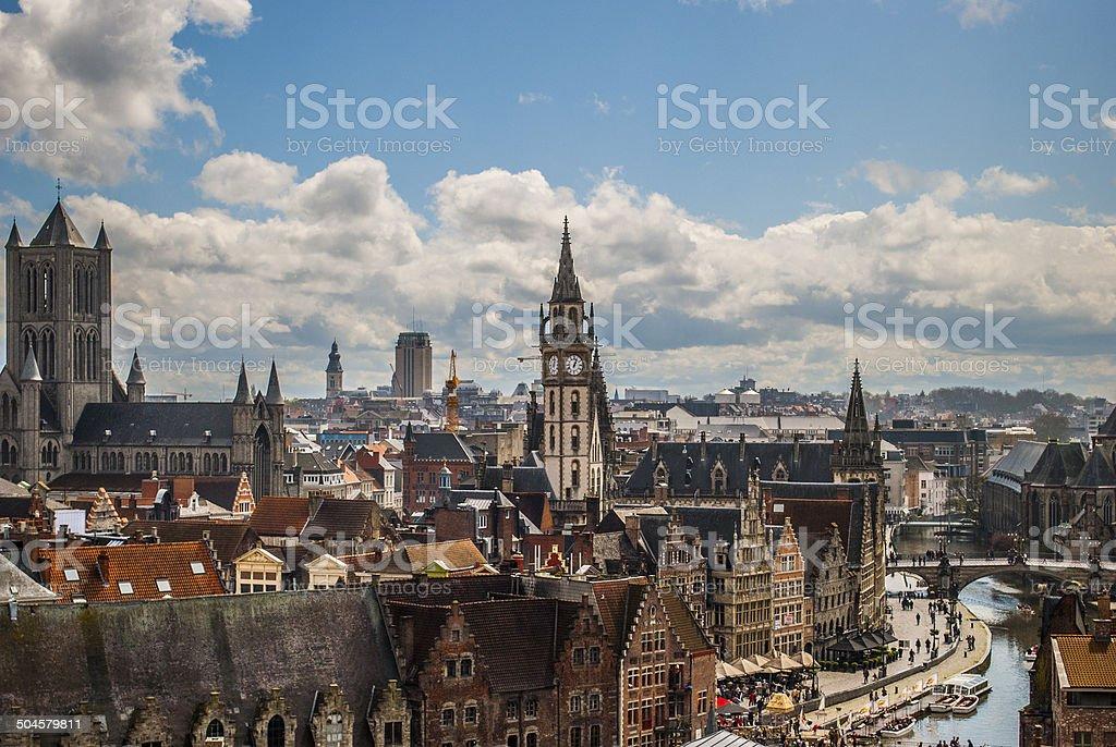 Historic center of Ghent, Belgium stock photo