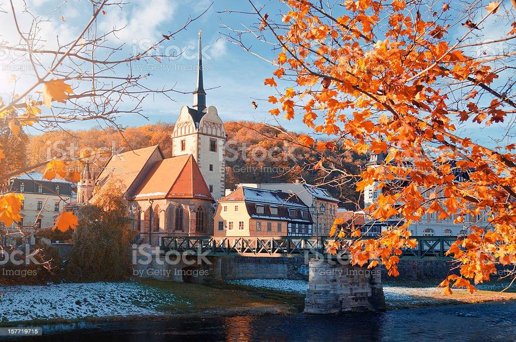 historic center Untermhaus in Gera at autumn stock photo