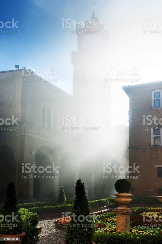 Historic Centre of Pienza in morning fog. stock photo