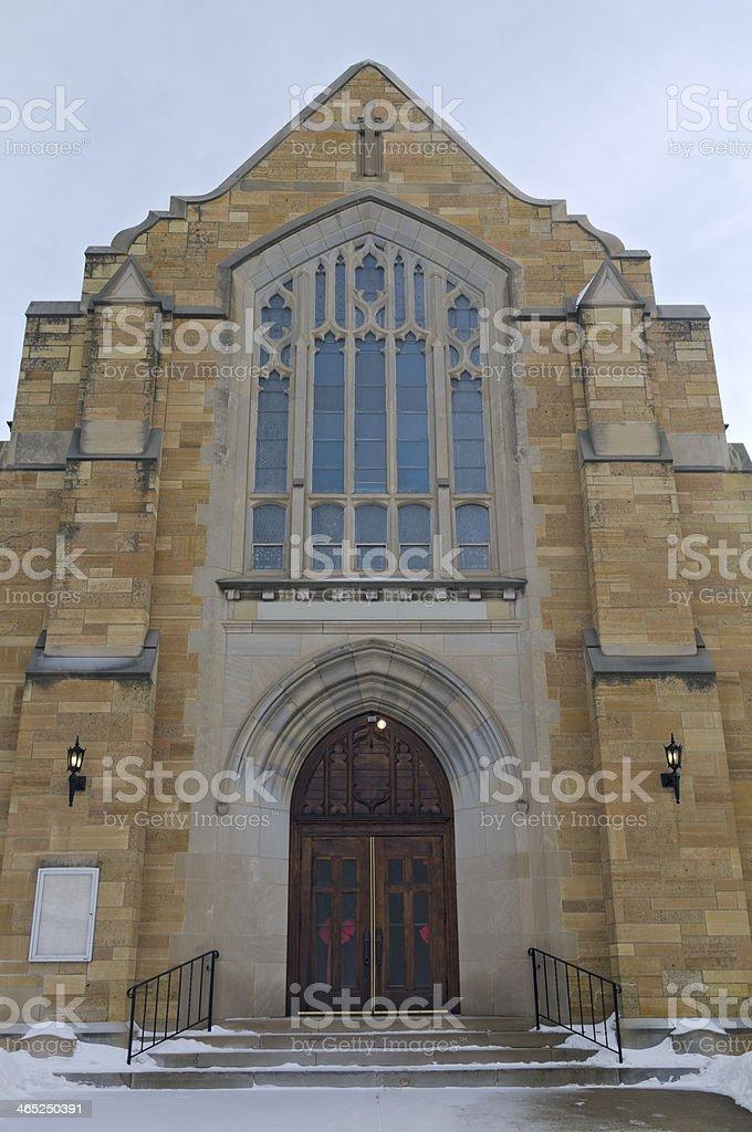 Historic Church Entrance of West Side Saint Paul stock photo