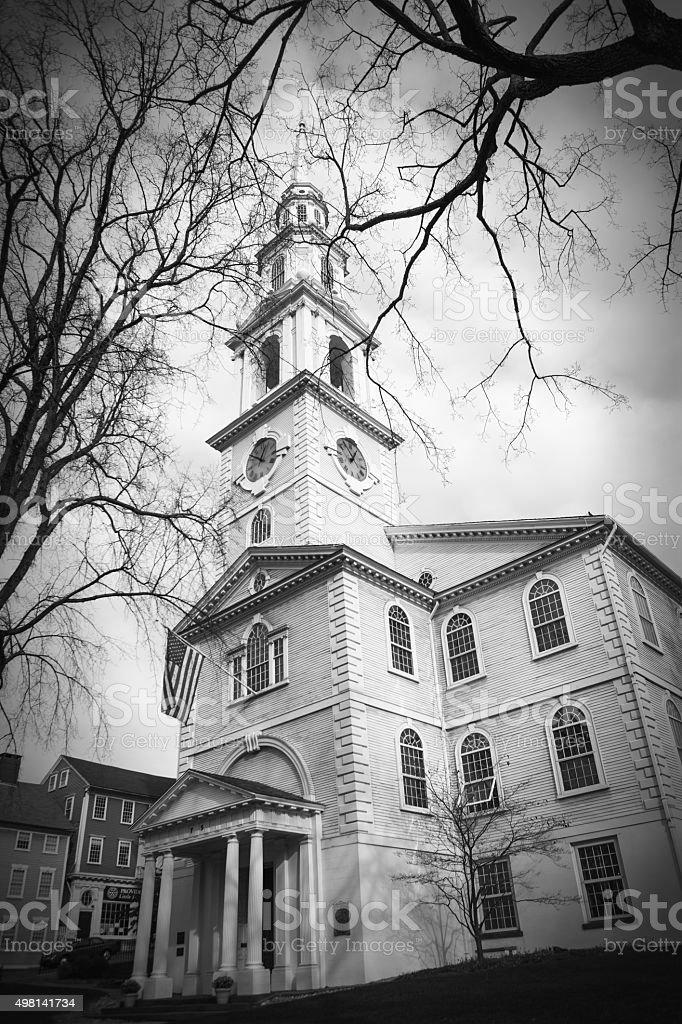 Historic church in Providence, Rhode Island stock photo