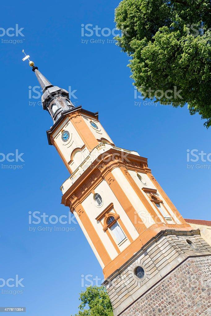 Historic church in Templin city, East Germany stock photo
