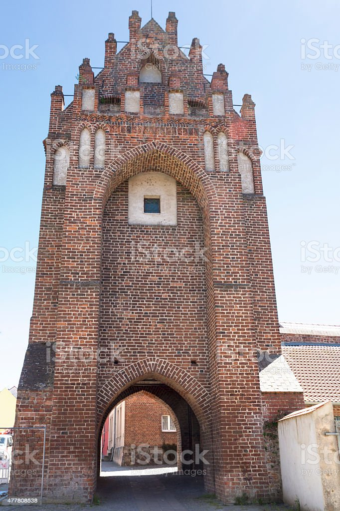 Historic city gate in Templin, East Germany stock photo