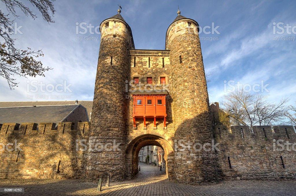 Historic City Gate Maastricht stock photo