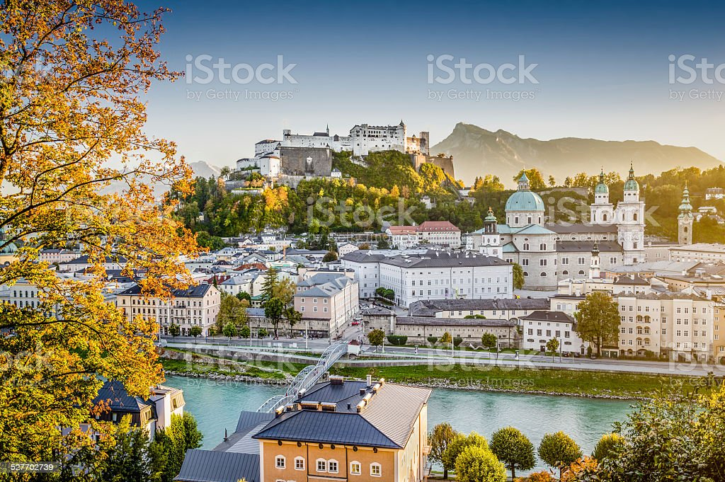 Historic city of Salzburg at sunset in fall, Austria stock photo