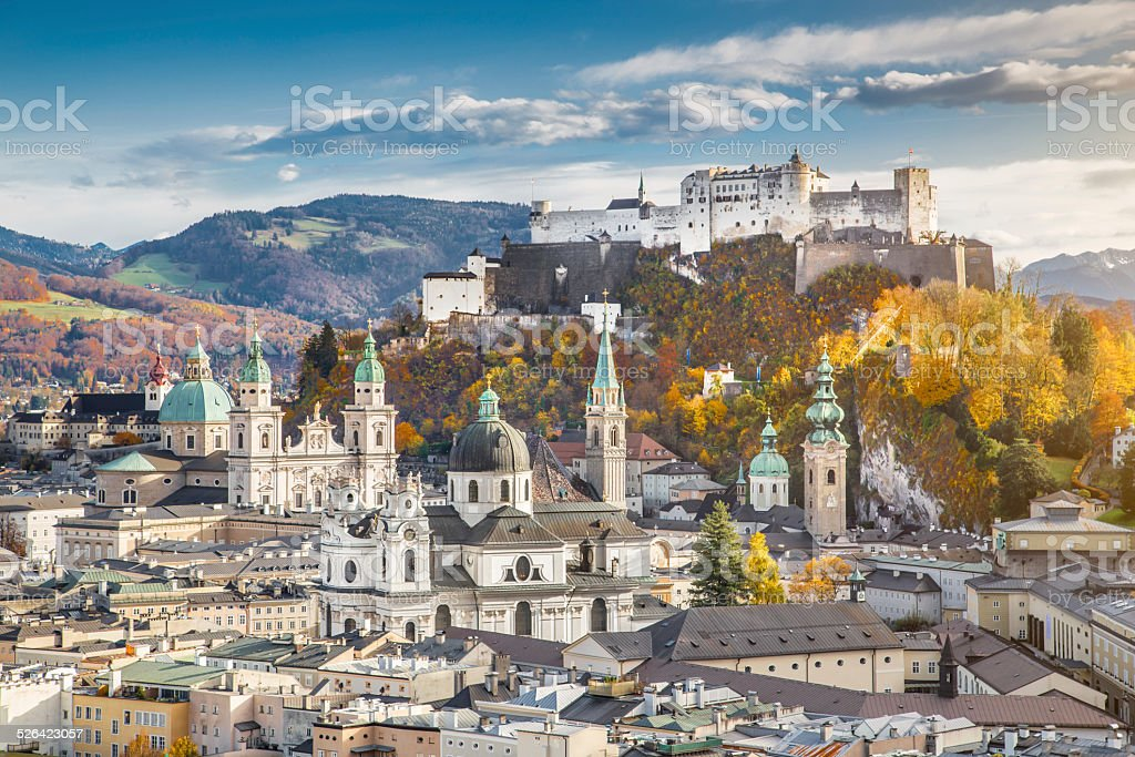 Historic city of Salzburg in fall, Austria stock photo