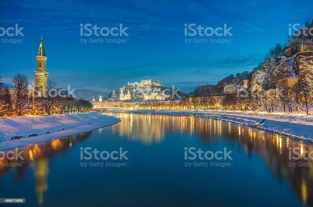 Historic city of Salzburg in winter at dusk, Austria stock photo