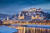 Historic city of Salzburg in winter at dusk, Austria