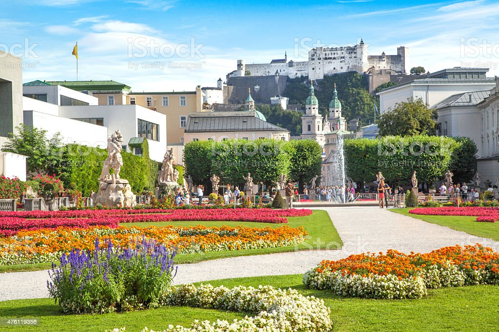 Historic city of Salzburg with famous Mirabell Gardens, Austria stock photo