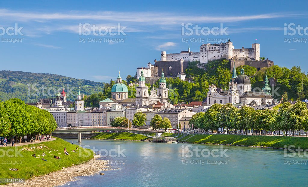 Historic city of Salzburg with river Salzach in springtime, Austria stock photo