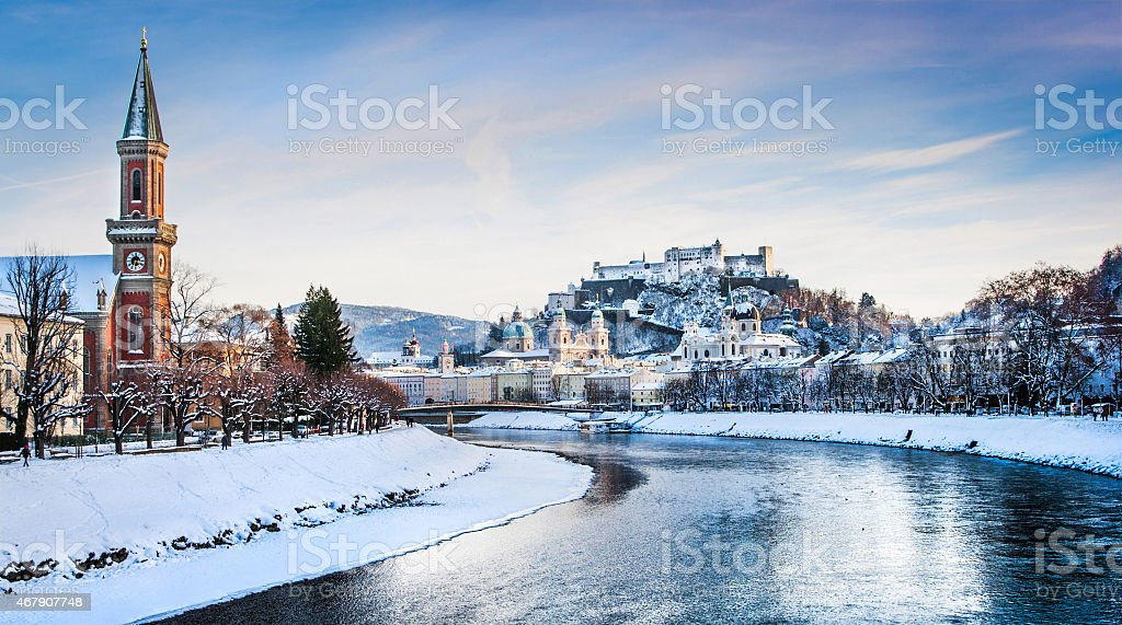 Historic city of Salzburg with river Salzach in winter, Austria stock photo