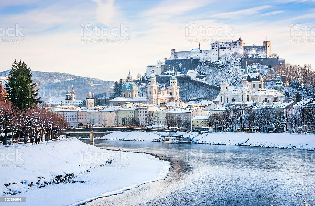 Historic city of Salzburg with Salzach river in winter, Austria stock photo