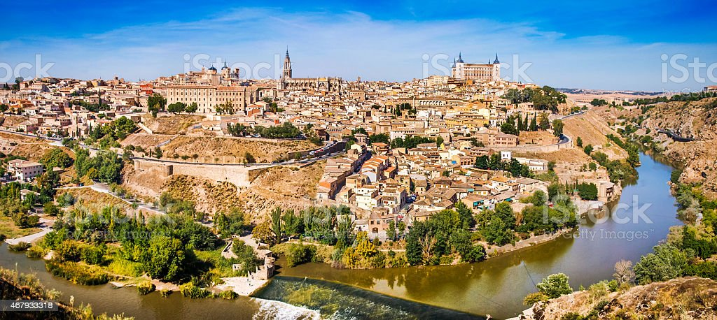 Historic city of Toledo with river Tajo, Spain stock photo
