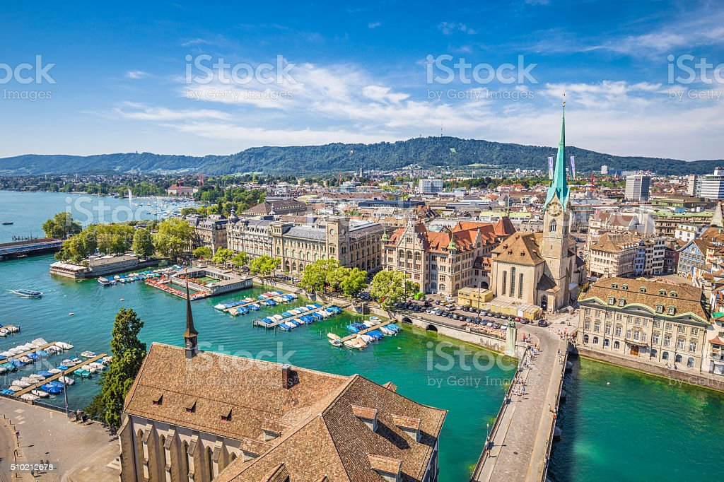 Historic city of Zürich with river Limmat, Switzerland stock photo