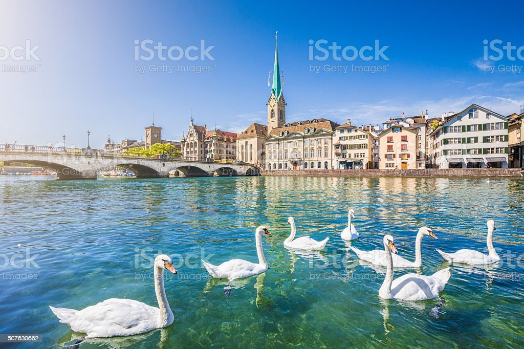 Historic city of Zurich with river Limmat, Switzerland stock photo
