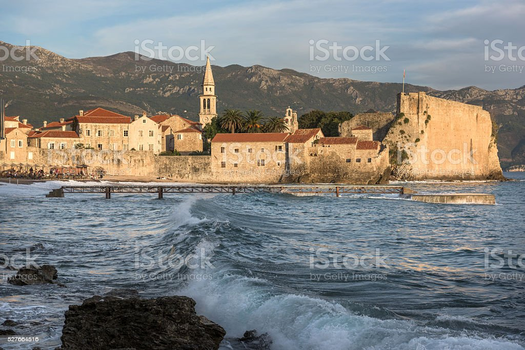 historic city view in budva stock photo