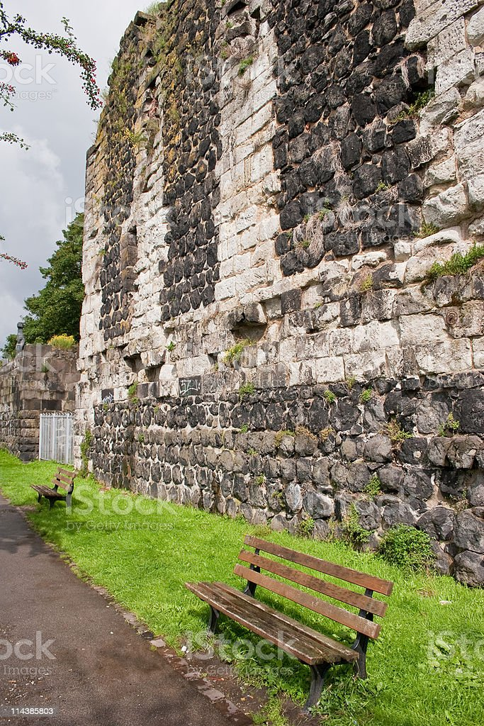 Historic city wall of D?sseldorf Kaiserwerth stock photo