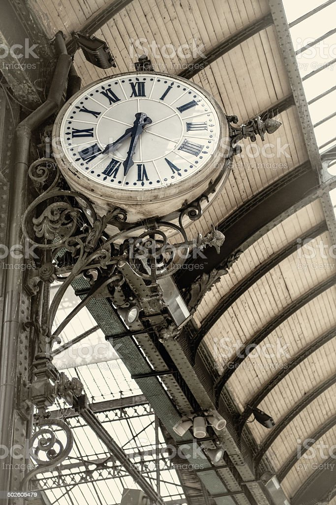 Historic clock at King's Cross Station, London stock photo