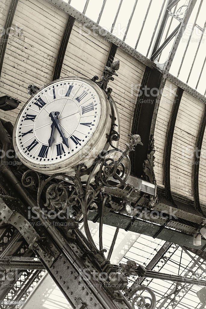 Historic clock at King's Cross Station, London stock photo