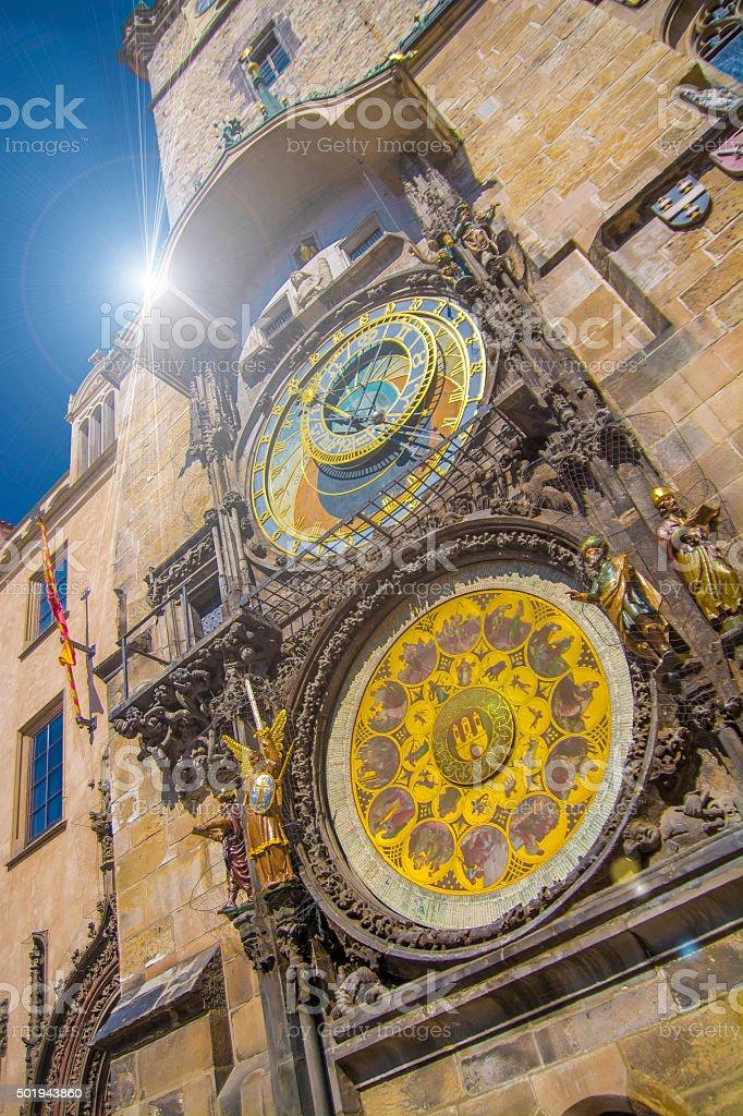 Historic Clock Tower in Prague stock photo