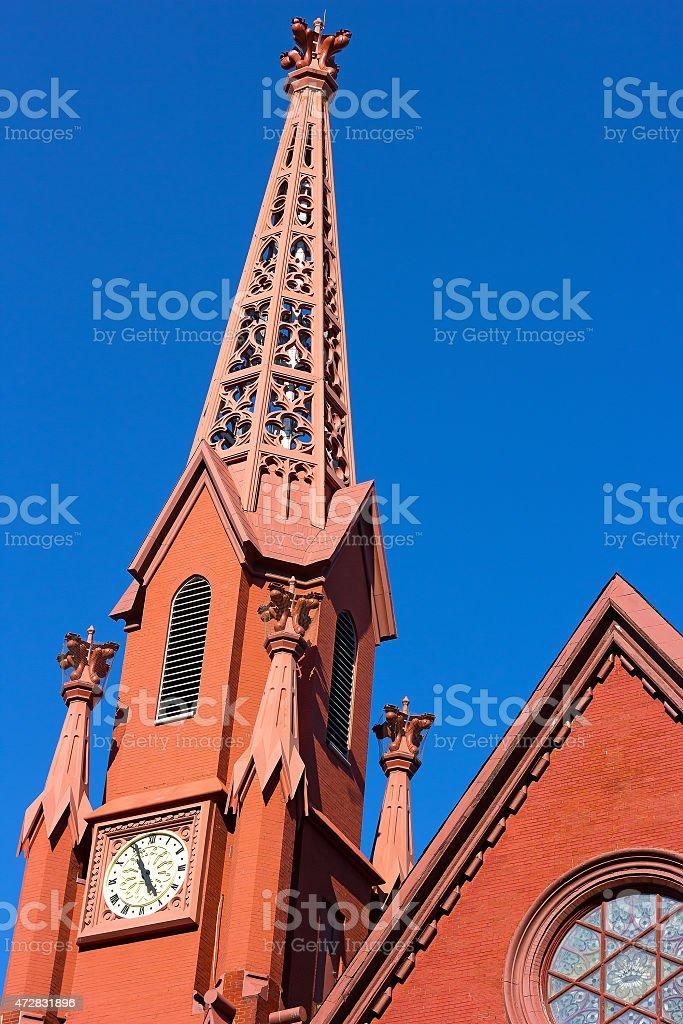 Historic clock tower of Calvary Baptist Church, Washington DC. stock photo