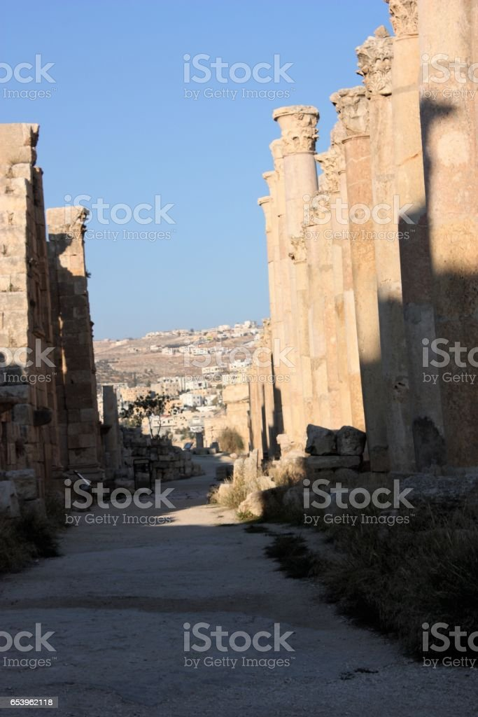 Historic columns in ancient Jerash in Jordan, Middle East stock photo