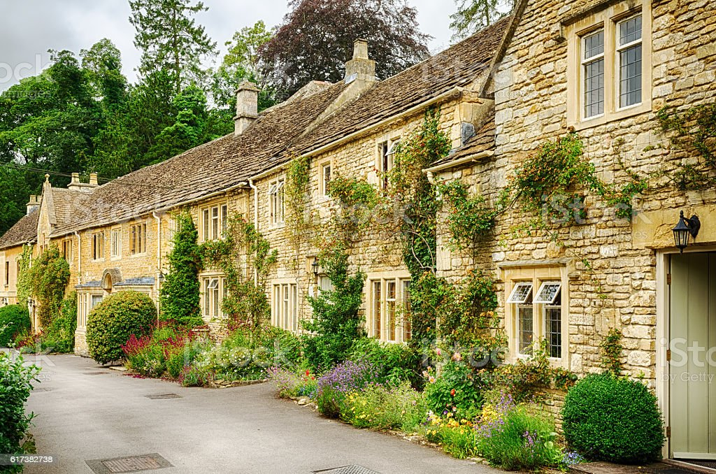 Historic cottages in Castle Combe stock photo