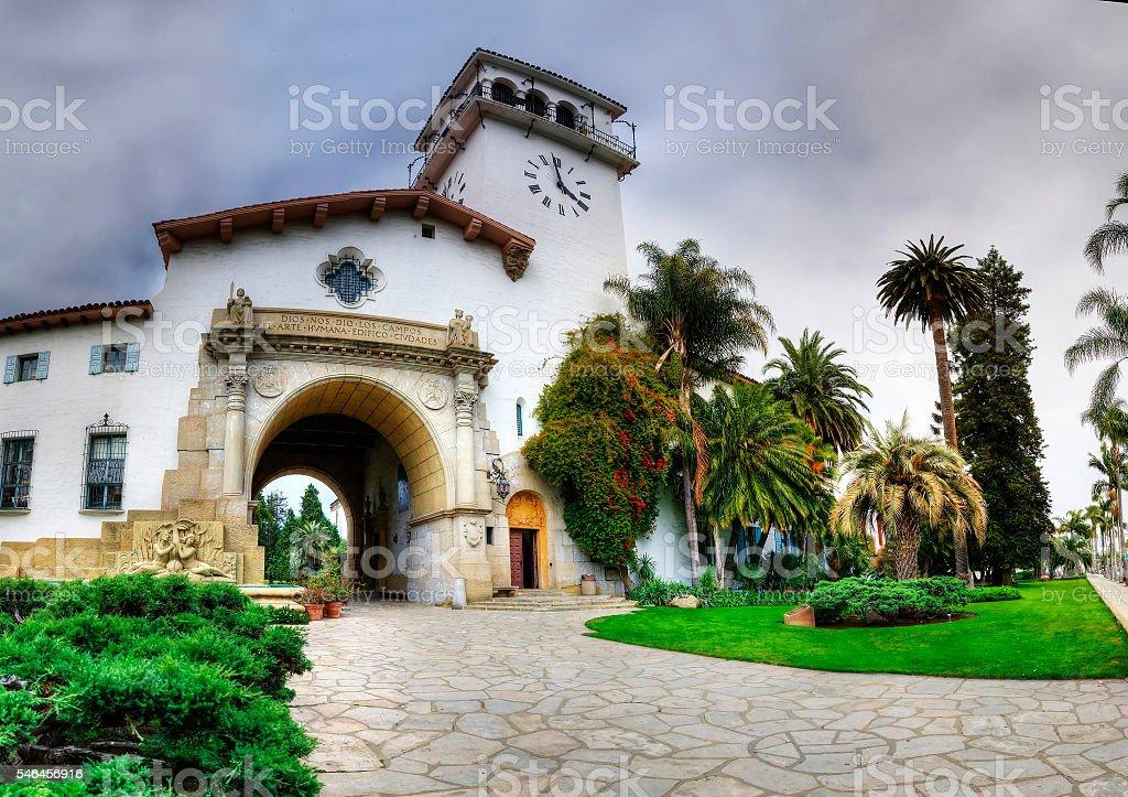 Historic courthouse entrance in Santa Barbara, California. stock photo