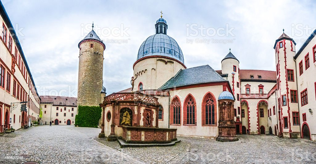 Historic courtyard of famous fortress Marienberg in Wurzburg, Bavaria, Germany stock photo