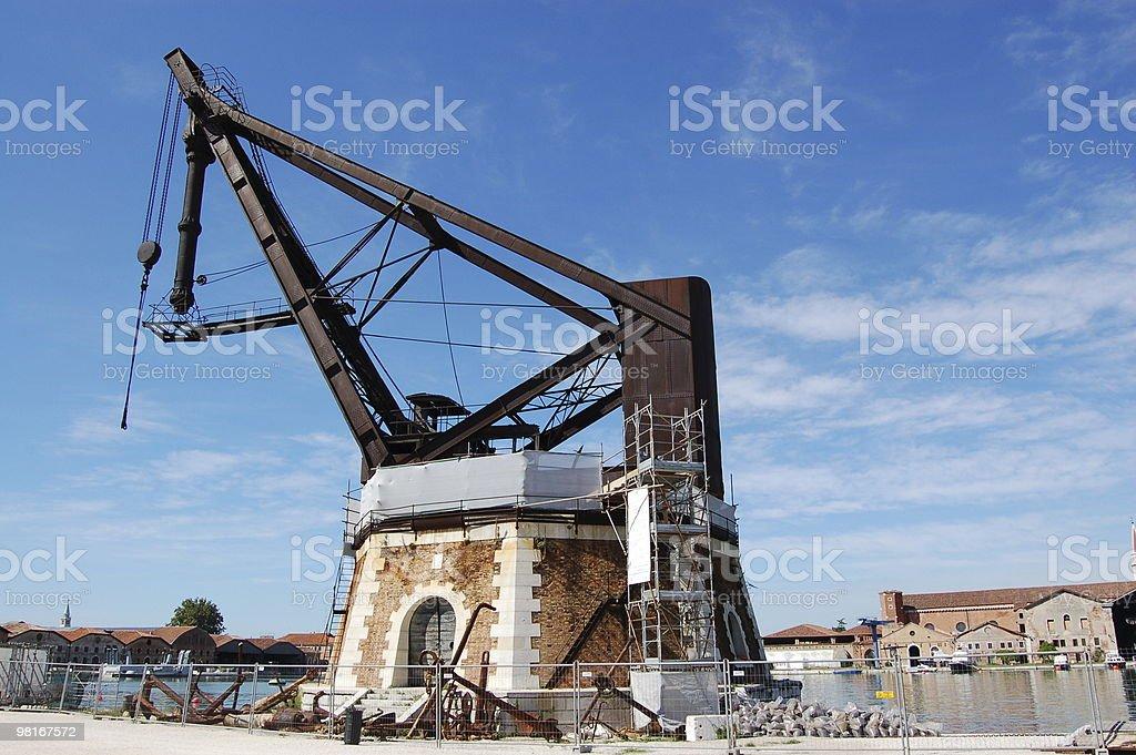 Historic Crane, Arsenale, Venice stock photo