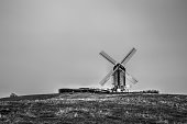 Historic Danish Windmill black and white