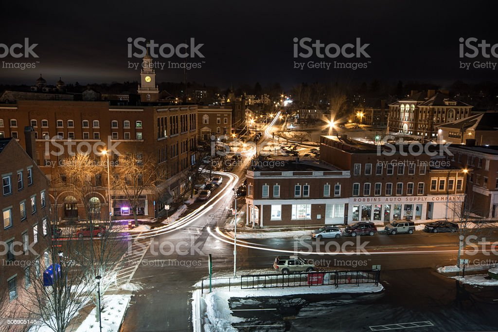 Historic Downtown Dover Nightlife Cold Winter Night New Hampshire stock photo