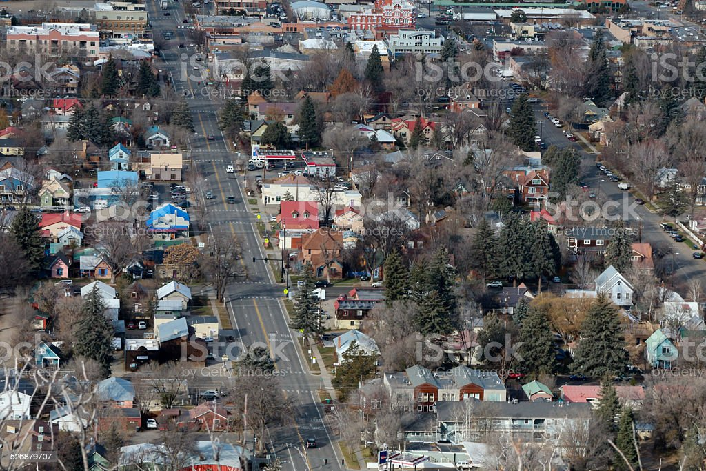 Historic downtown durango viewed from above stock photo