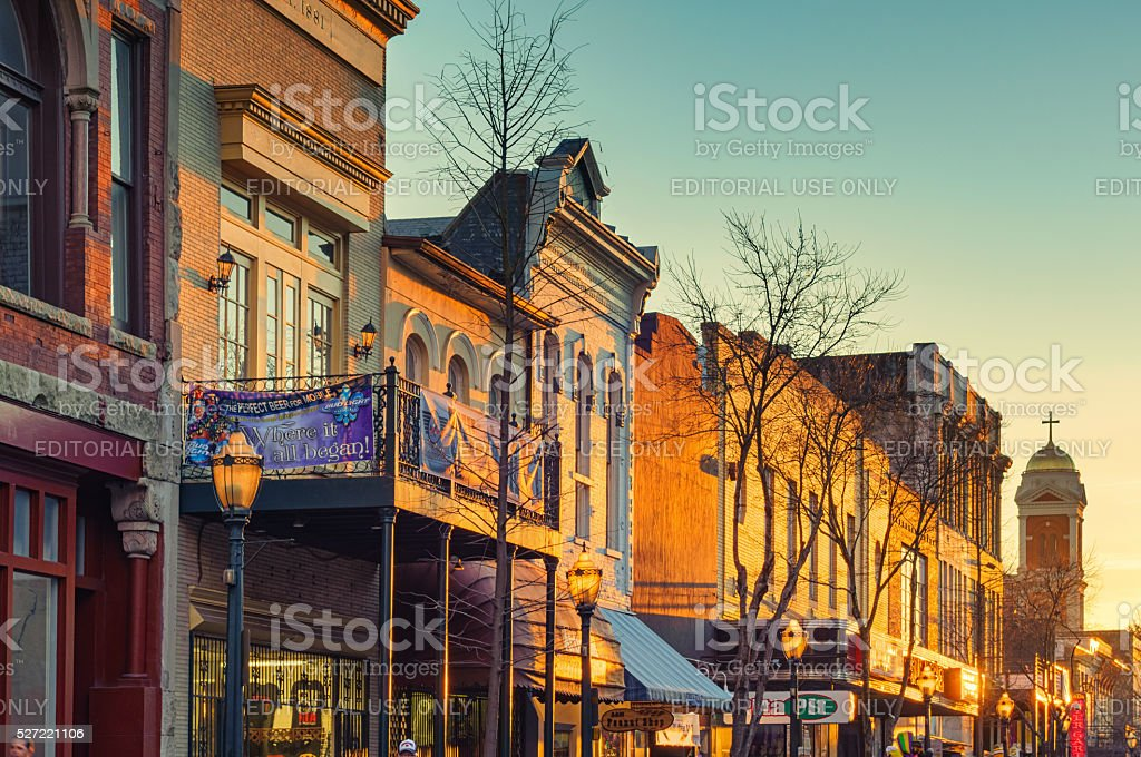 Historic Downtown Mobile Alabama USA at Sunset stock photo
